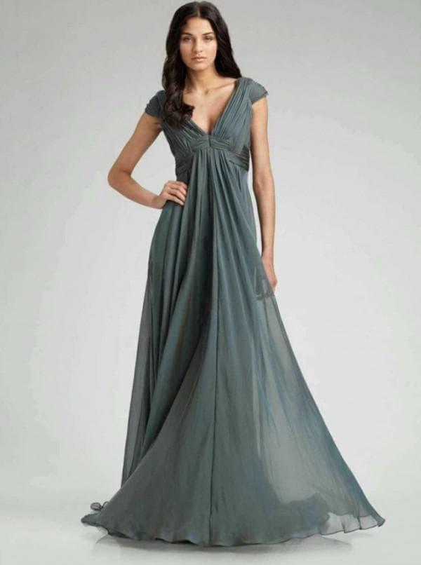 Длинное серое платье в пол из шифона