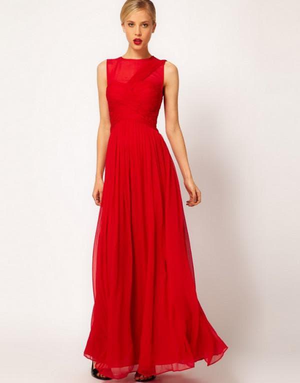 Красное шифоновое платье в пол