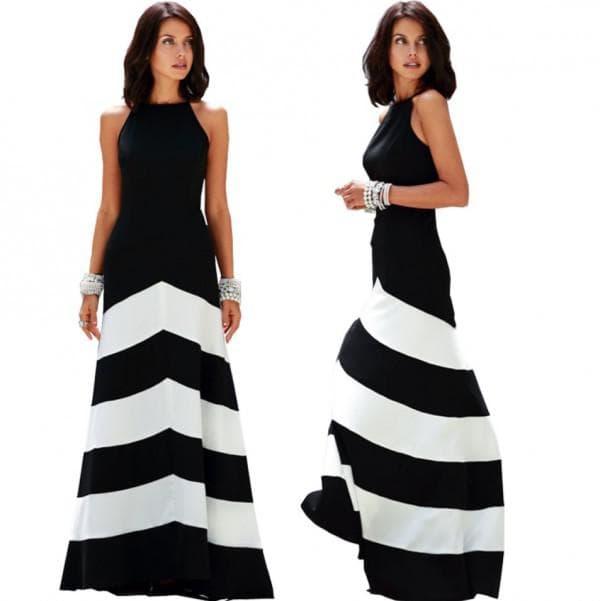 Длинное черно-белое платье на новый год большого размера