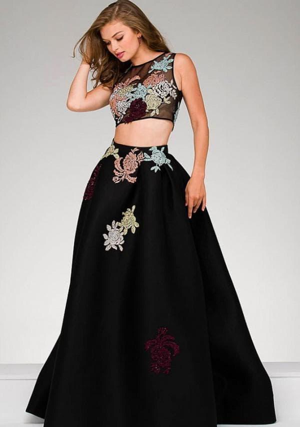 Длинное раздельное платье на выпускной