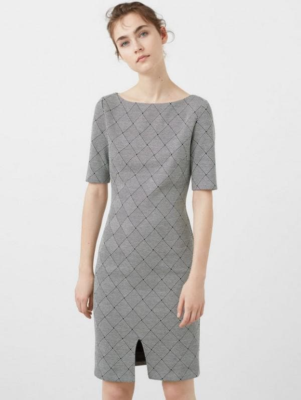 Платье серое в деловом стиле