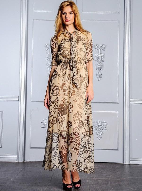 Повседневное шифоновое платье в пол