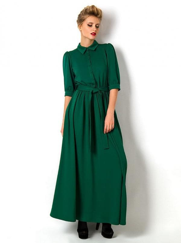 Повседневное длинное зеленое платье