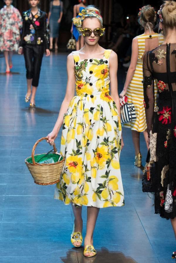 Платье миди с лимонами