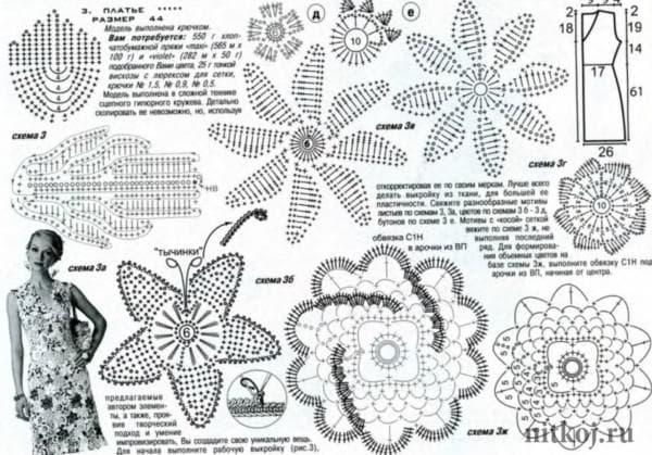 Схема узоров в технике ирландское кружево