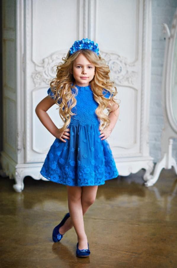 Детское нарядное синие платье