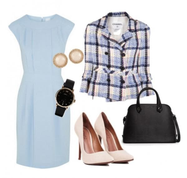 С чем носить голубое платье в офис