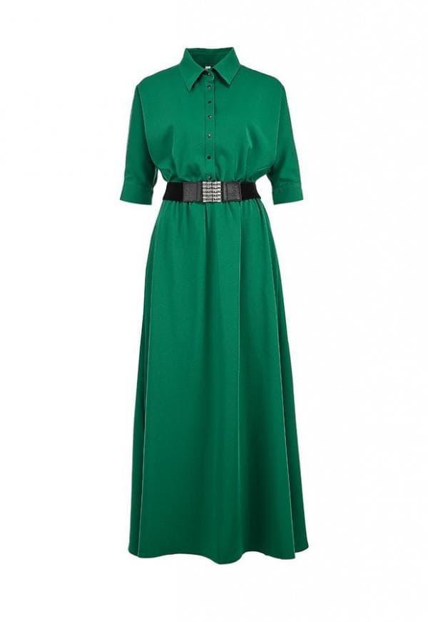 Офисное зеленое платье в пол