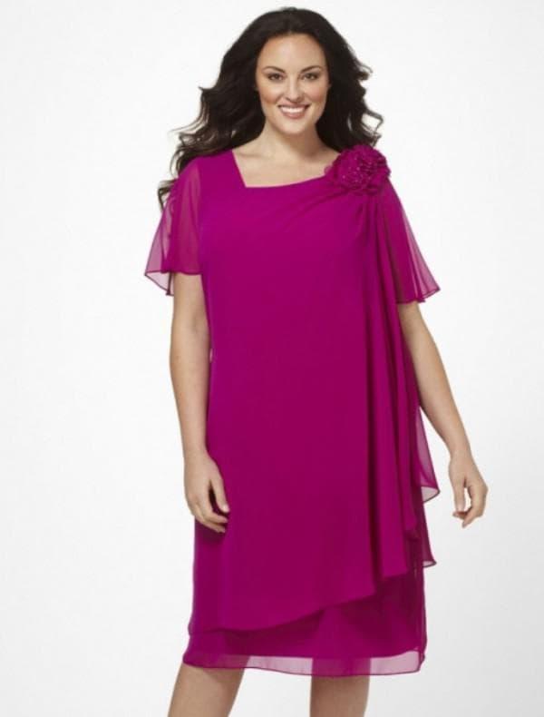 Платье цвета фцксии большого размера