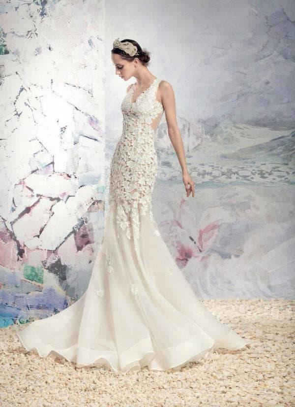 Свадебное платье русалка с кружевным лифом