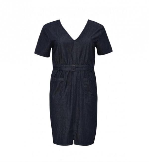 Темно синее джинсовое платье миди для полных