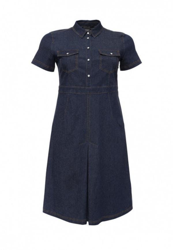 Джинсовое платье с карманами большого размера