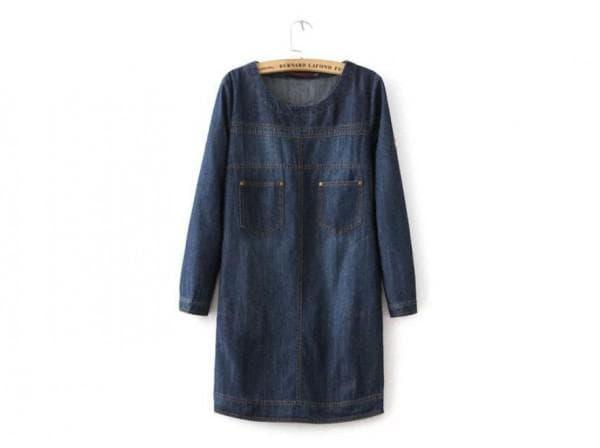 Темно синее платье из денима большого размера