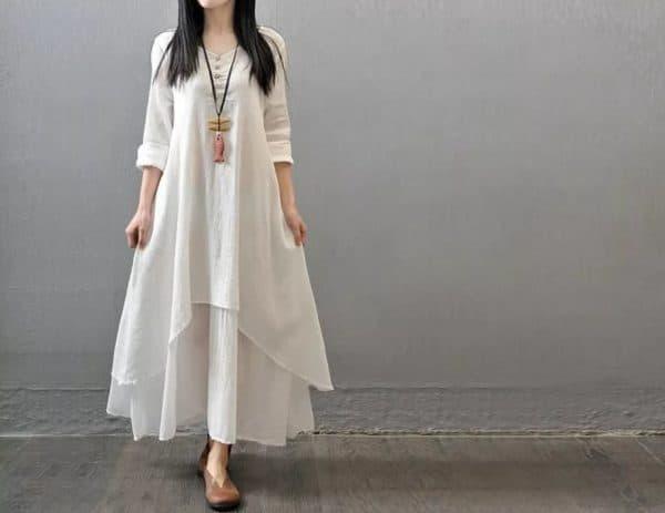 Платье-туника в стиле бохо для полных