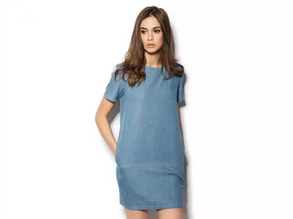 Платье туника из денима с заниженной талией
