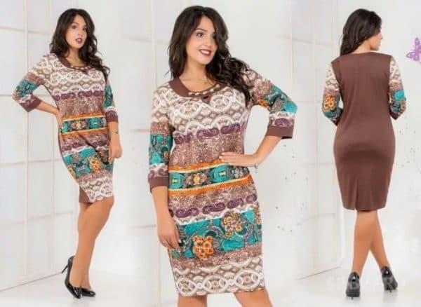 Повседневное платье тункиа для полных женщин