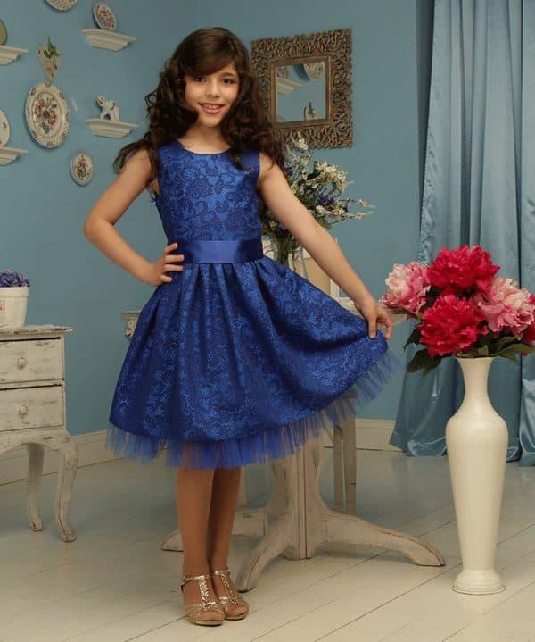 Тёмер-синее платье для девочки в 12 лет