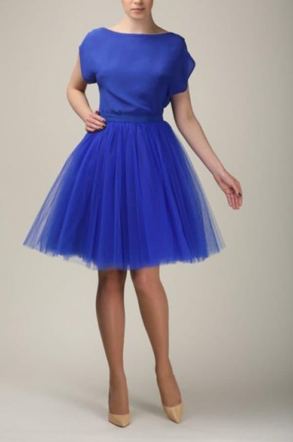 Синее платье с юбкой-пачкой