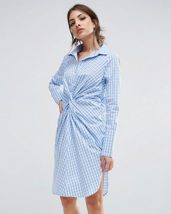 Платье-рубашка бело-голубое