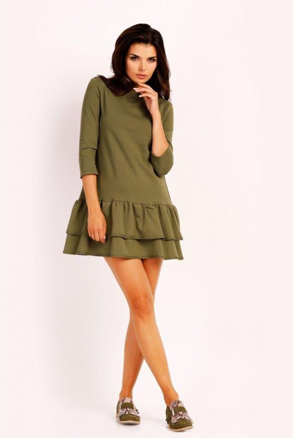 Короткое платье цвета хаки с многослойной юбкой