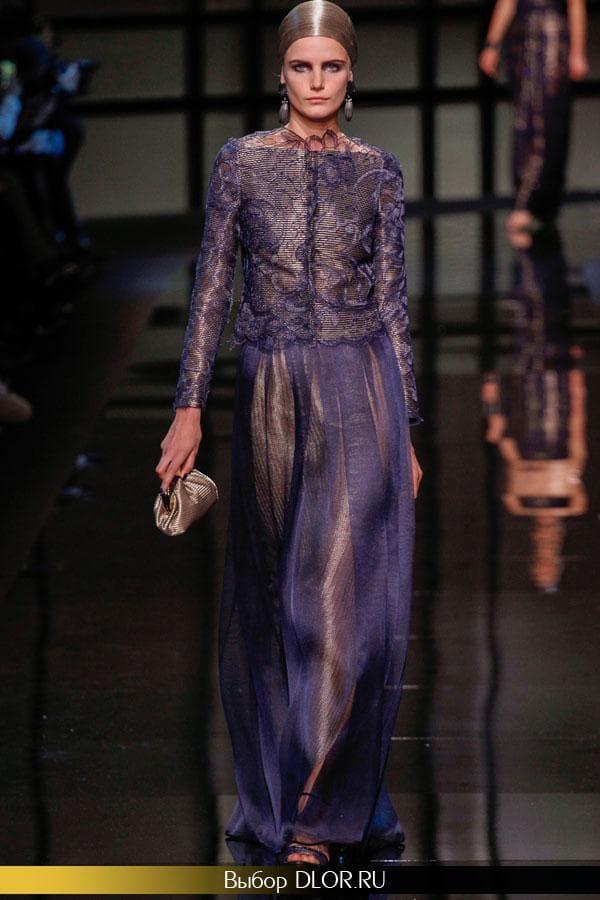 Двухцветное платье: беж с синим шифоном