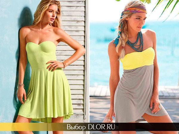 Салатовое и серо-желтое пляжное платье