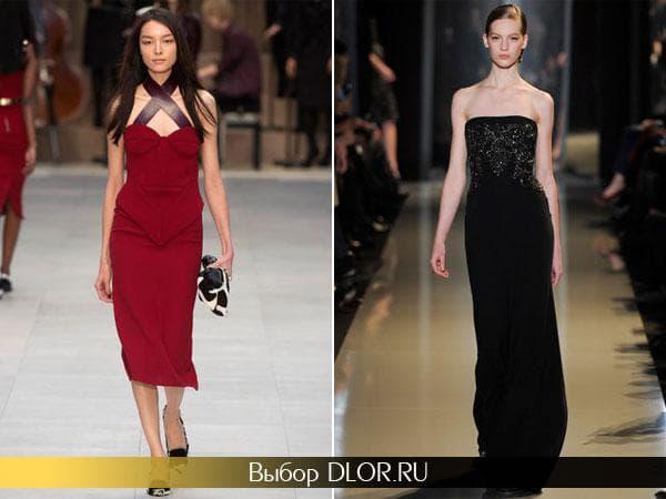 Красное и черное приталенное платье