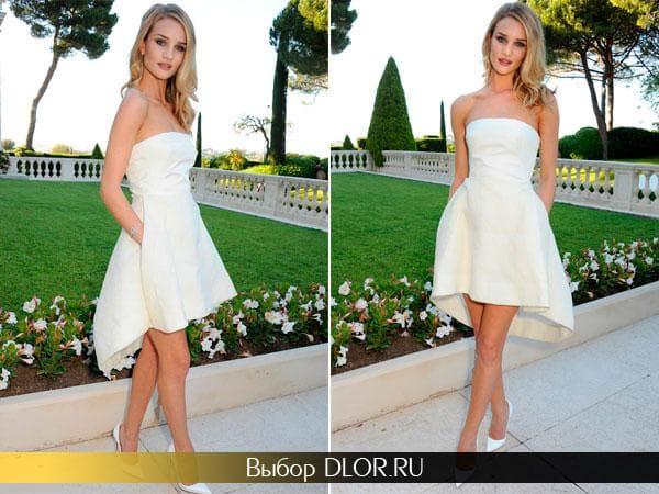 Белое платье спереди короткое длинное сзади Рози Хантингтон-Уайтли