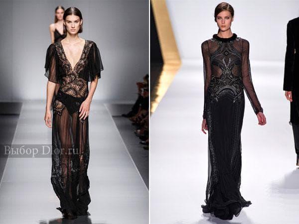 Длинные платья с кружевом и узорами