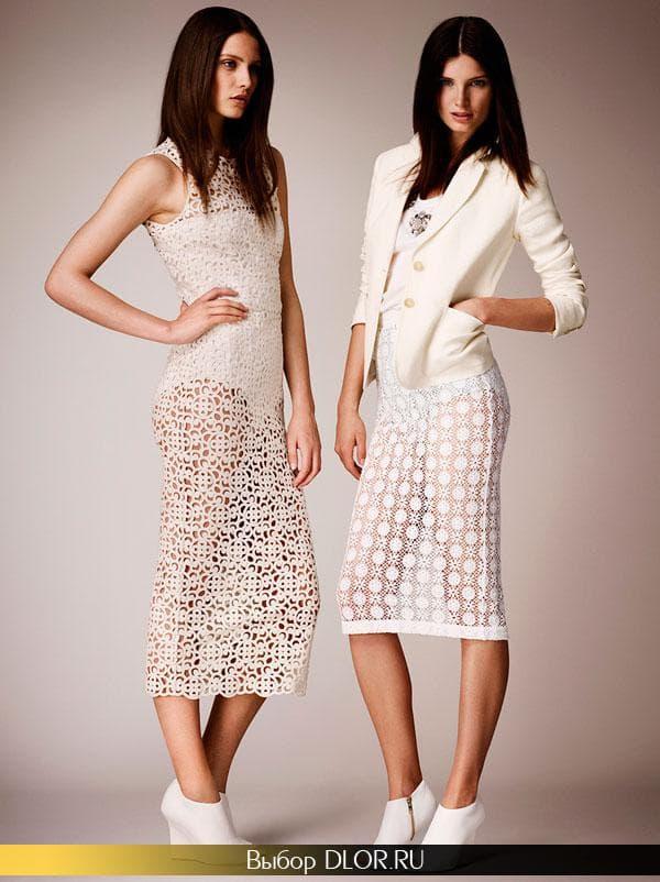 Белые кружевные платья средней длины