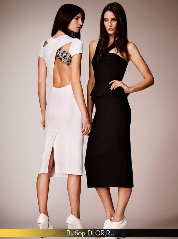 Стильные платья-футляр с открытой спиной
