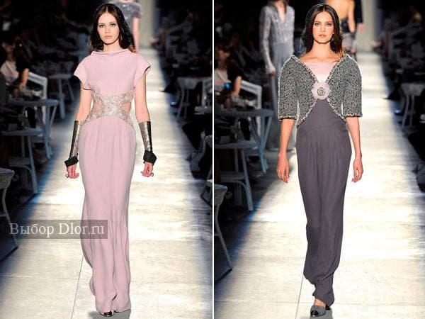 Розовое и серое длинное платье