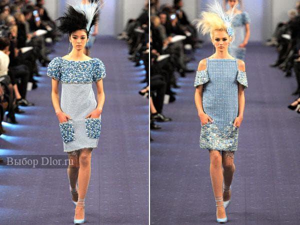 Голубые летние платья из твида