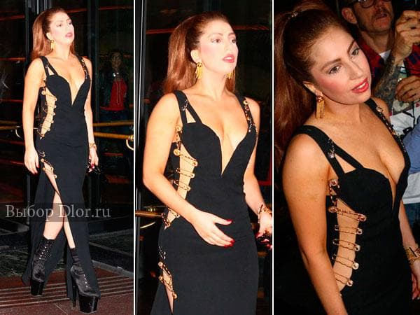 Фото Леди Гаги в черном платье