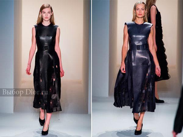 Удлиненные платья из кожи от Calvin Klein