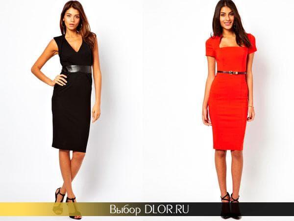 Строгие платья-футляр черного и красного цвета