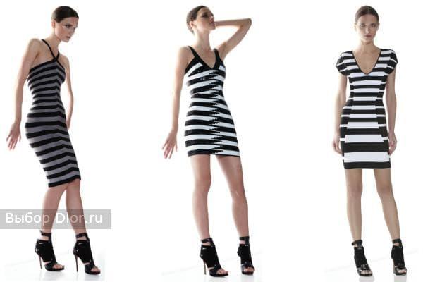 Платья черно-белые в полоску