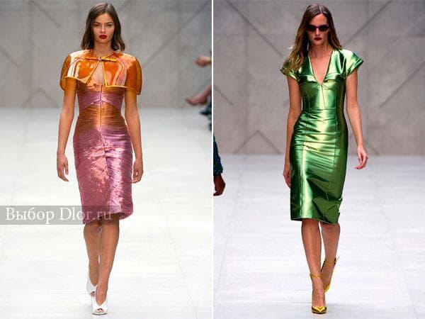 Металликовые платья-футляр от Burberry Prorsum
