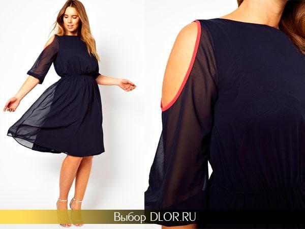 Фото темно-синего платья с прозрачными рукавами