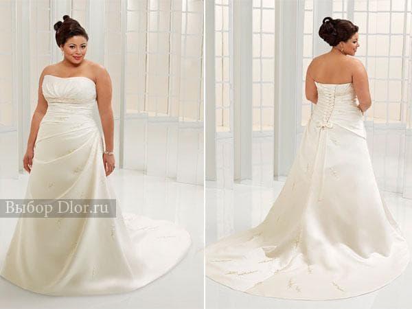 Свадебное платье без бретелей с корсетом для полных девушек
