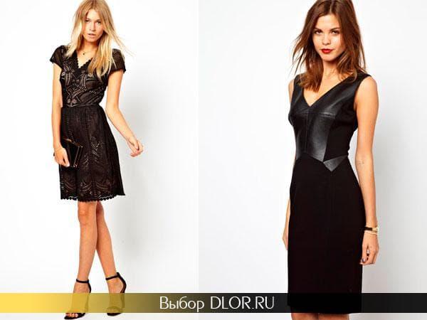 Фото черного гипюрового платья и платья-футляр с кожаными вставками