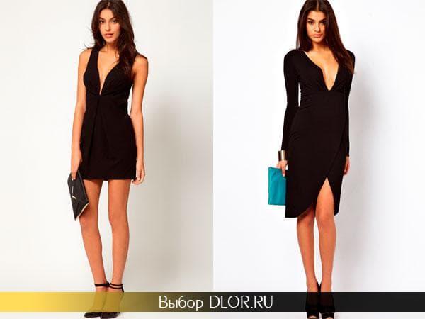 Черные облегающие платья с глубоким вырезом