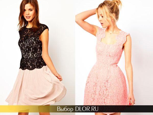 Розовые гипюровые платья с пышной юбкой