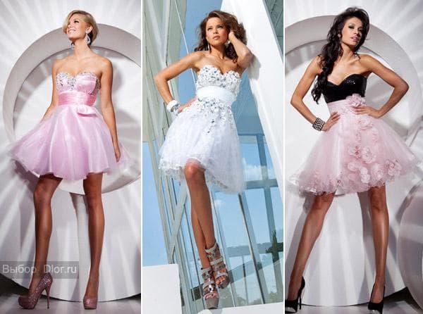 Белые и розовые коктейльные платья