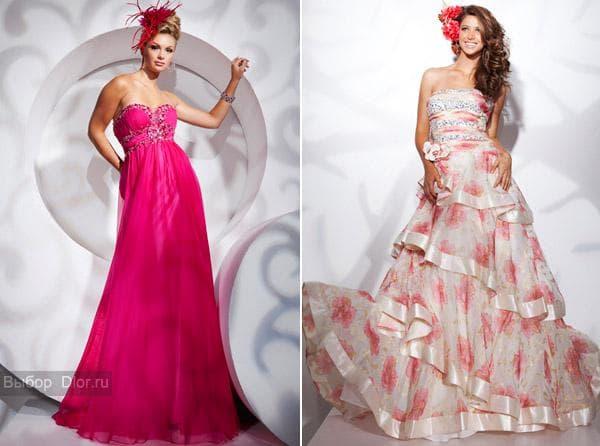 Длинные розовые платья с рюшами