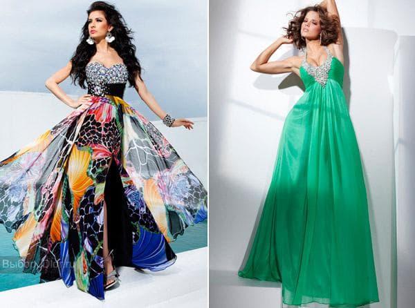 Бирюзовое платье в пол и шифоновое платье с ярким принтом