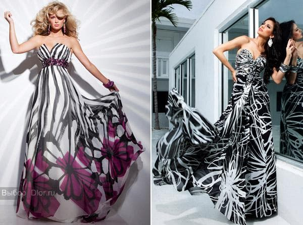 Вечернее платье с цветочным принтом и полосками и черное-белое платье
