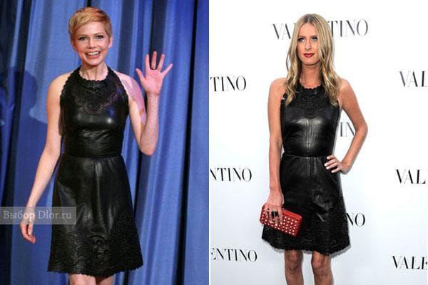 Фото кожаного платья Valentino на знаменитостях