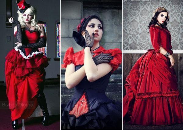 Красные готические платья