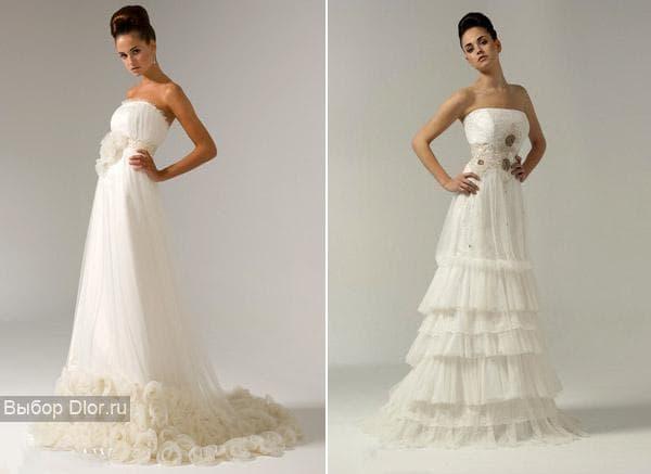 Белые свадебные платья украшенные драпировкой